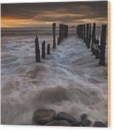 Old Wharf At Sunrise Saint Clair Beach Wood Print