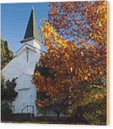 Old White Church In Autumn Wood Print