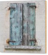 Old Window With Blue Shutte Wood Print