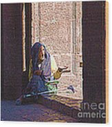 Old Woman In Centro Wood Print