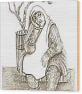 Old Woman In The Street  Sitting Near A Tree On A Bench Looking Sad And Tired Wood Print