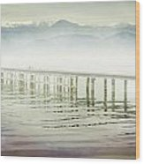 Old Wooden Bridge Into A Mountain Lake On A Foggy Morning Wood Print