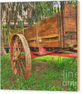 Old Wooden Cart Wood Print