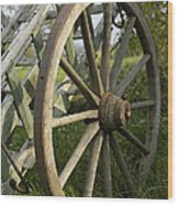 Old Wooden Cartwheel - Nostalgia Wood Print