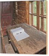 Old Wooden Desk And Chair Wood Print by Jaak Nilson