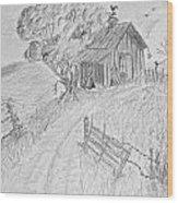 Old Woodshed II Wood Print by Debbie Portwood