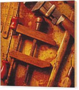 Old Worn Tools Wood Print