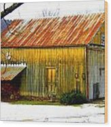 Old Yellow Barn Wood Print