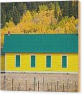 Old Yellow School House With Autumn Colors Wood Print