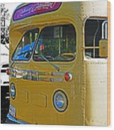 Old Yellow Transit Bus Abstract Wood Print
