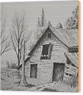 Olde Barn With Truck Wood Print by Chris Shepherd