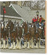 Olde Tyme Travel Clydesdales Wood Print