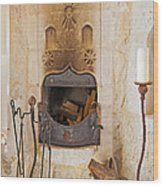 Olde Worlde Fireplace In A Cave  Wood Print