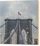Ole Glory Over Brooklyn Bridge Wood Print