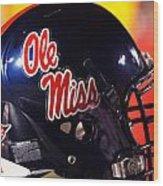 Ole Miss Football Helmet Wood Print