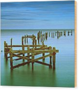 Ols Swanage Pier Wood Print by Mark Leader