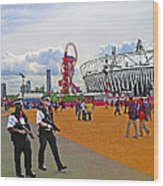 Olympic 2012 Stadium Security Wood Print by Peter Allen