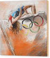 Olympics High Jump Gold Medal Ivan Ukhov Wood Print