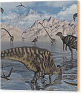 Omeisaurus And Parasaurolphus Dinosaurs Wood Print