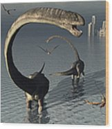 Omeisaurus Sauropod Dinosaurs Cooling Wood Print