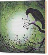 Ominous Bird In Somber Tones Wood Print