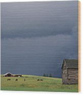 Ominous Clouds Gather Over Horses Wood Print