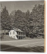 On A West Virginia Road Sepia Wood Print