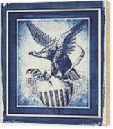 On Eagles Wings Blue Wood Print