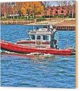 On Patrol At The Erie Basin Marina  Wood Print