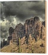 On The Mountain Wood Print