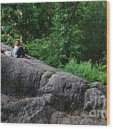 On The Rocks In Central Park Wood Print