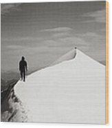 On The Snow Crest Wood Print by Konstantin Dikovsky