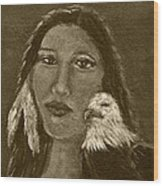 Onawa Native American Woman Of Wisdom With Eagle In Sepia Wood Print by The Art With A Heart By Charlotte Phillips
