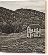 Once Upon A Mountainside Sepia Wood Print
