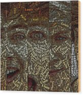 One Direction Faces Mosaic Wood Print