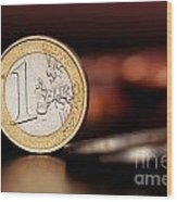 One Euro Coin Wood Print