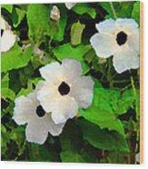 One Eye White Flower Wood Print