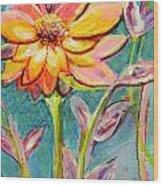 One Pink Flower Wood Print