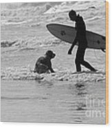 One Surfer And His Dog Wood Print