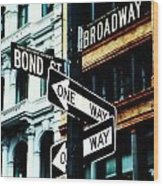One Way Junction Wood Print by Jenn Bodro