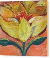 One Yellow Flower And Pinky Peach Behind Wood Print