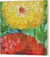 One Yellow One Red And Orange Flower Shines Wood Print