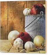 Onion Harvest Wood Print by Sandra Cunningham