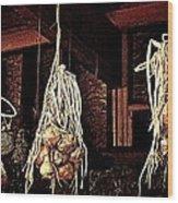 Onions Drying Wood Print
