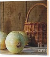 Onions On The Counter Wood Print by Sandra Cunningham
