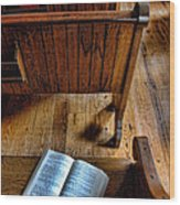 Open Book On Church Pew Wood Print