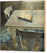 Open Book On Old Table Wood Print