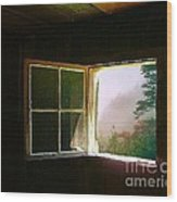 Open Cabin Window In Spring Wood Print by Julie Dant