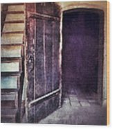 Open Door By Staircase Wood Print