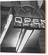 Open For Business Bw Wood Print